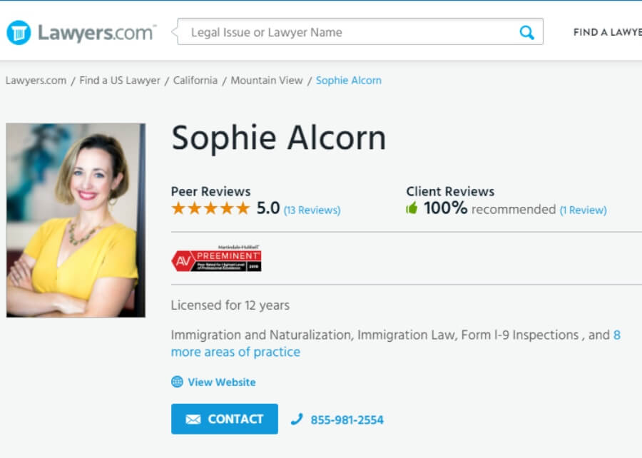 Sophie Alcorn and Alcorn Immigration Law Awarded Preeminent Rating